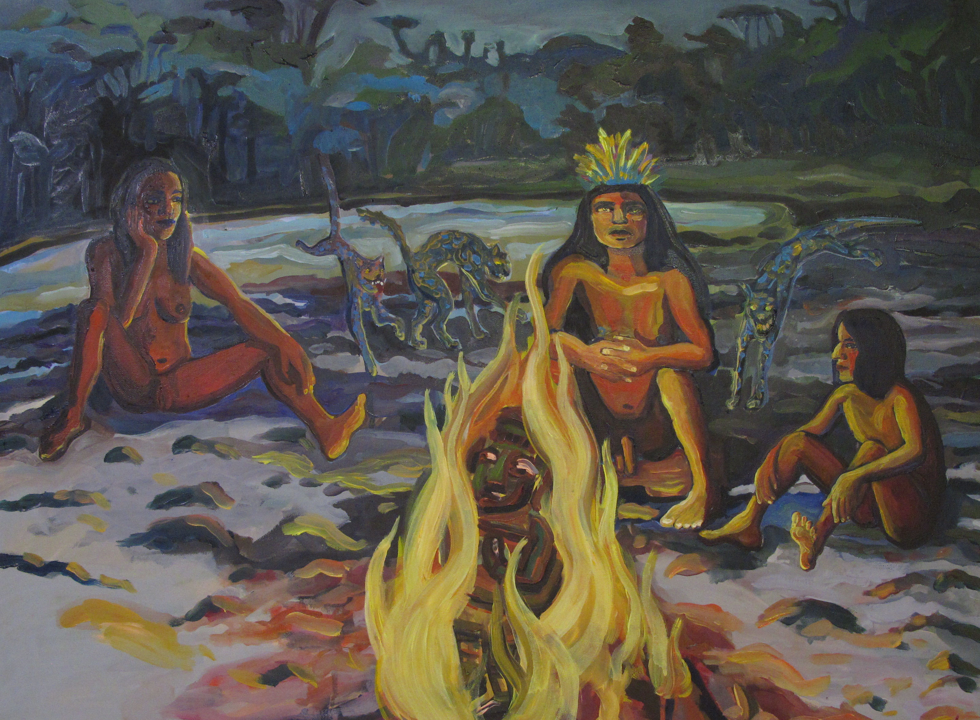 In protection of fire, 80x60 cm, oil on canvas, 2015