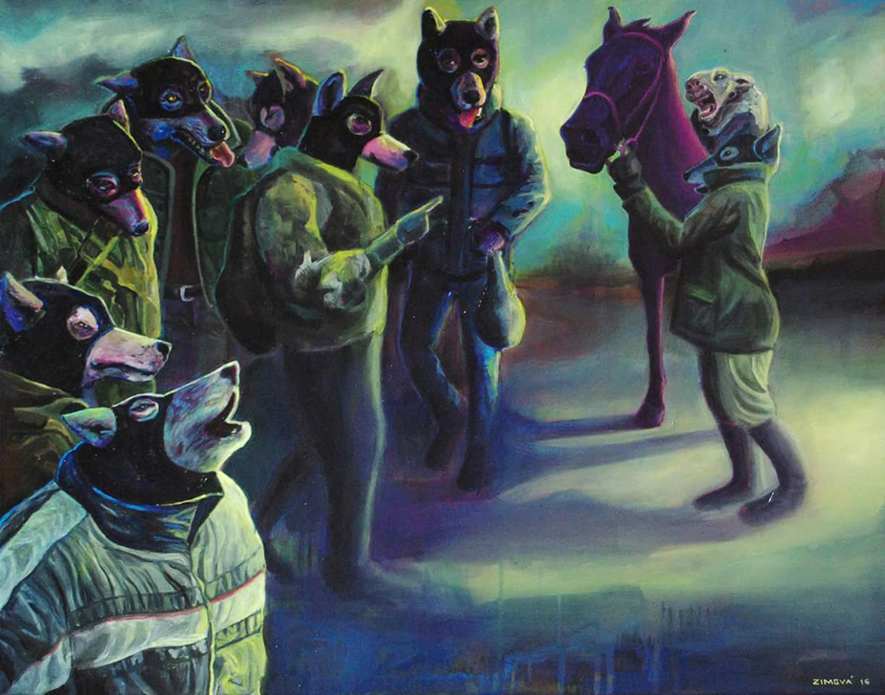 Wolves in sheep clothes: Preparation of the Trojan horse, 90 x 70 cm, oil on canvas, 2016