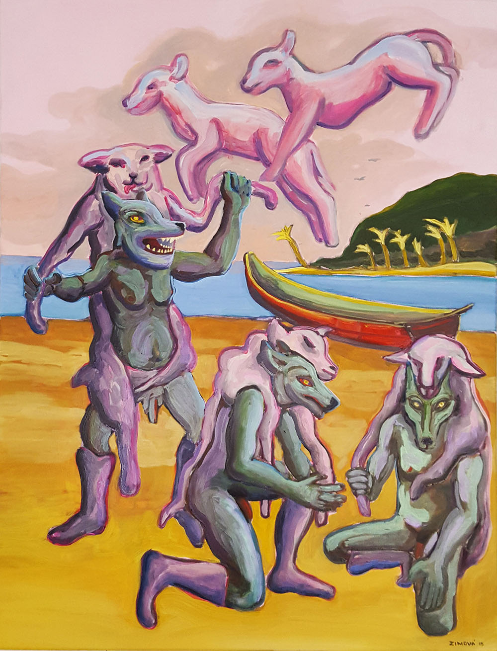 Wolves in sheep clothes, 80 x 100 cm, oil on canvas, 2015